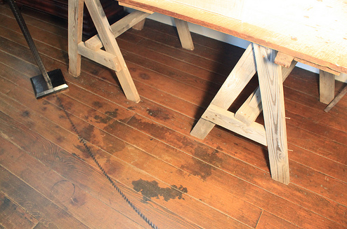 Bloodstains on the floor at Carnton. Used by permission.
